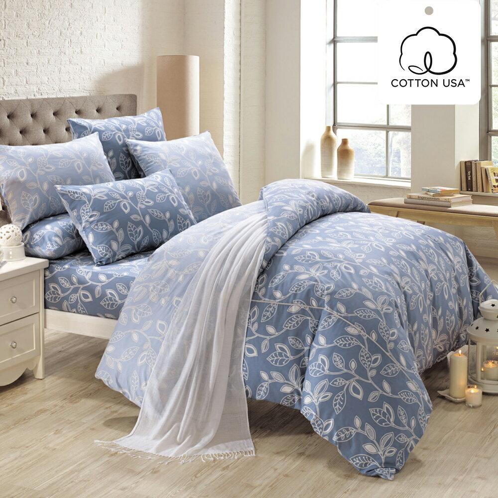 床包被套組 四件式雙人兩用被床包組/奧德曼藍/美國棉授權品牌[鴻宇]台灣製2013