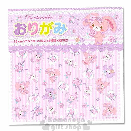 〔小禮堂〕BO蹦蹦兔 日製色紙《方形.粉條紋.朋友.玫瑰緞帶》4款圖案.共20張