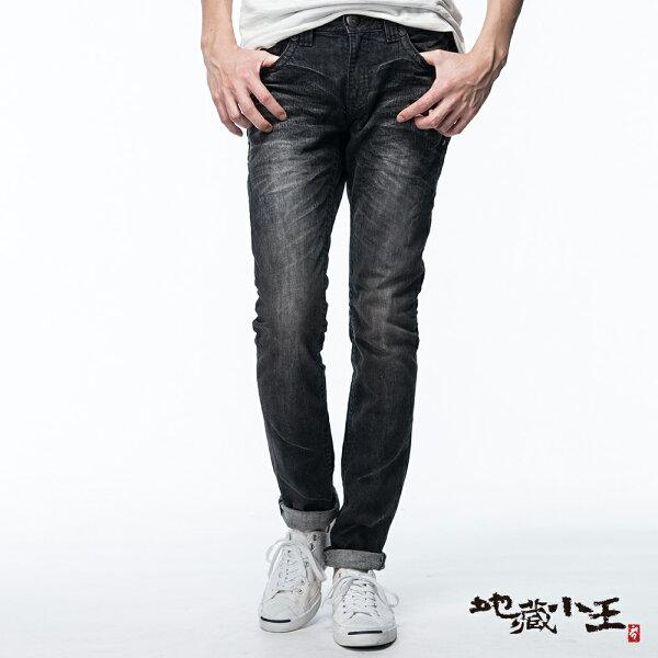 【均一價1580】煙洗效果個性低腰窄直筒褲(黑)-BLUEWAYJIZO地藏小王