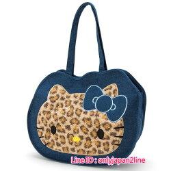 【真愛日本】16100800006造形肩背提袋-KT單寧毛絨豹紋   三麗鷗 Hello Kitty 凱蒂貓 提袋 包包 肩背包
