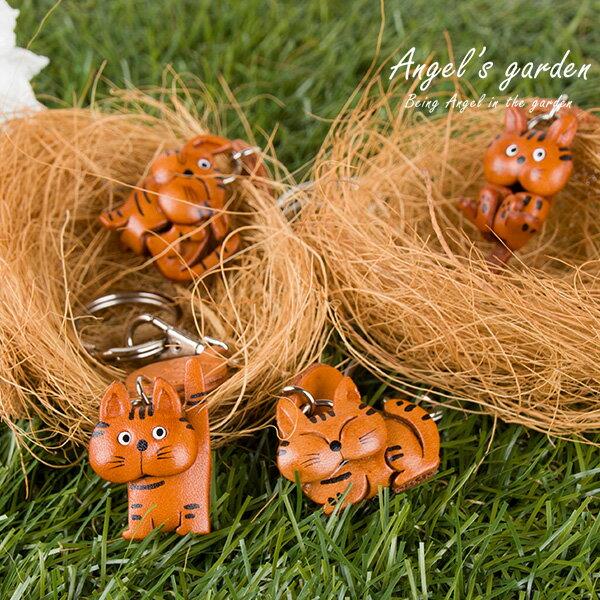 【安佐革物】貓咪家族 日本手做真皮吊飾 立體貓咪 鑰匙圈 美短 波斯貓 折耳貓 條紋