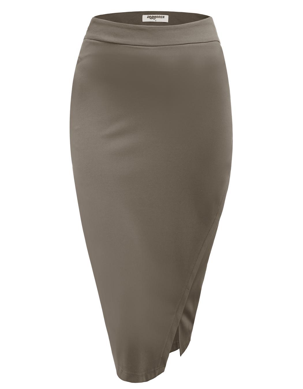 Women High Waist Slim Stretch Side Split Pencil Skirt 0