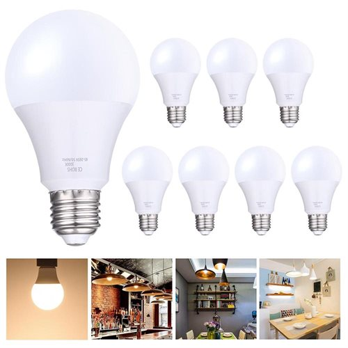 Set of 8pcs 12W LED Light Bulb 85-265V 1080LM E27 Lighting Home Office Warm White 0