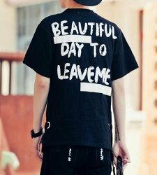 FINDSENSE MD 韓國 潮 男 嘻哈 街頭時尚 肩膀鐵圈 後背字母印花 另類 夜店DJ發型師 短袖T恤 特色短T
