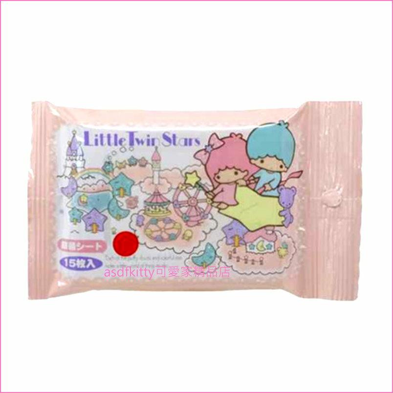 asdfkitty可愛家☆雙子星抗菌濕紙巾-15抽-日本製