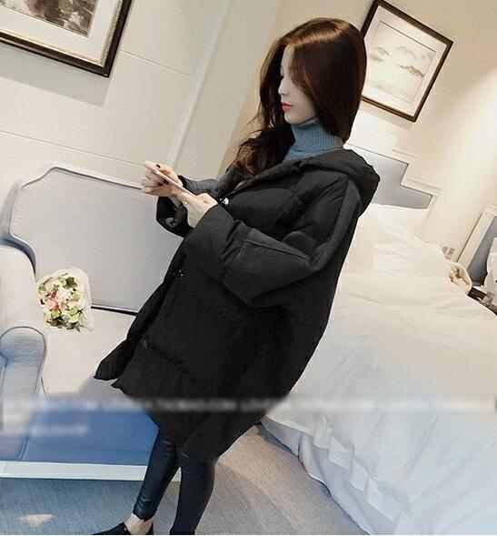紮實溫暖.純色寬鬆中長款連帽外套- shiny藍格子【V2145】★★ 1