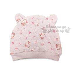 〔小禮堂嬰幼館〕台灣 佳美 Hello Kitty 嬰兒帽《粉.雙耳.壓印.蘋果.玫瑰》100%純棉舒適設計
