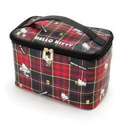 X射線【C063354】Hello Kitty 化妝提包-格紋,化妝包/收納包/手拿包/補妝包/面紙包