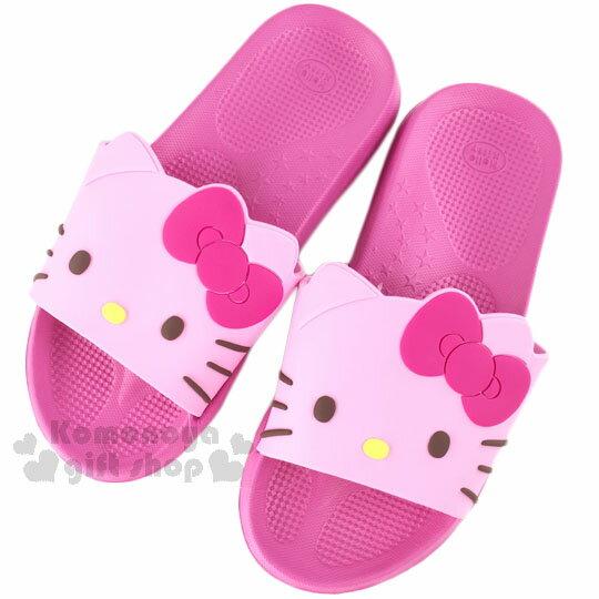 〔小禮堂〕Hello Kitty 塑膠厚底拖鞋~粉.大臉~室內室外兩穿