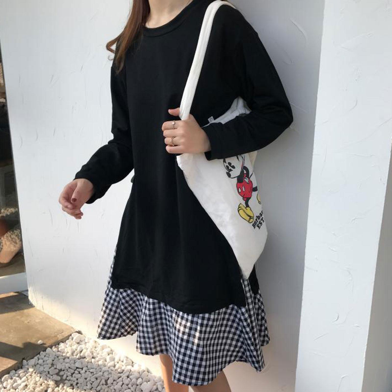 洋裝 設計感拼接格子長版假兩件連身裙【D3437】☆雙兒網☆