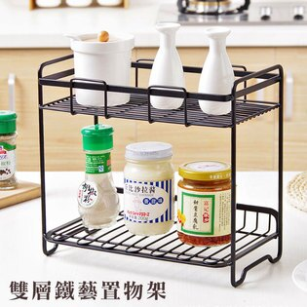 日式雙層鐵藝置物架調味料架收納架ZAKKA風