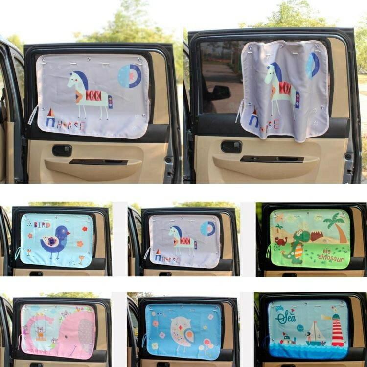 夏季可愛卡通汽車側窗遮光窗簾防曬簾遮陽簾兒童坐車防紫外線WY