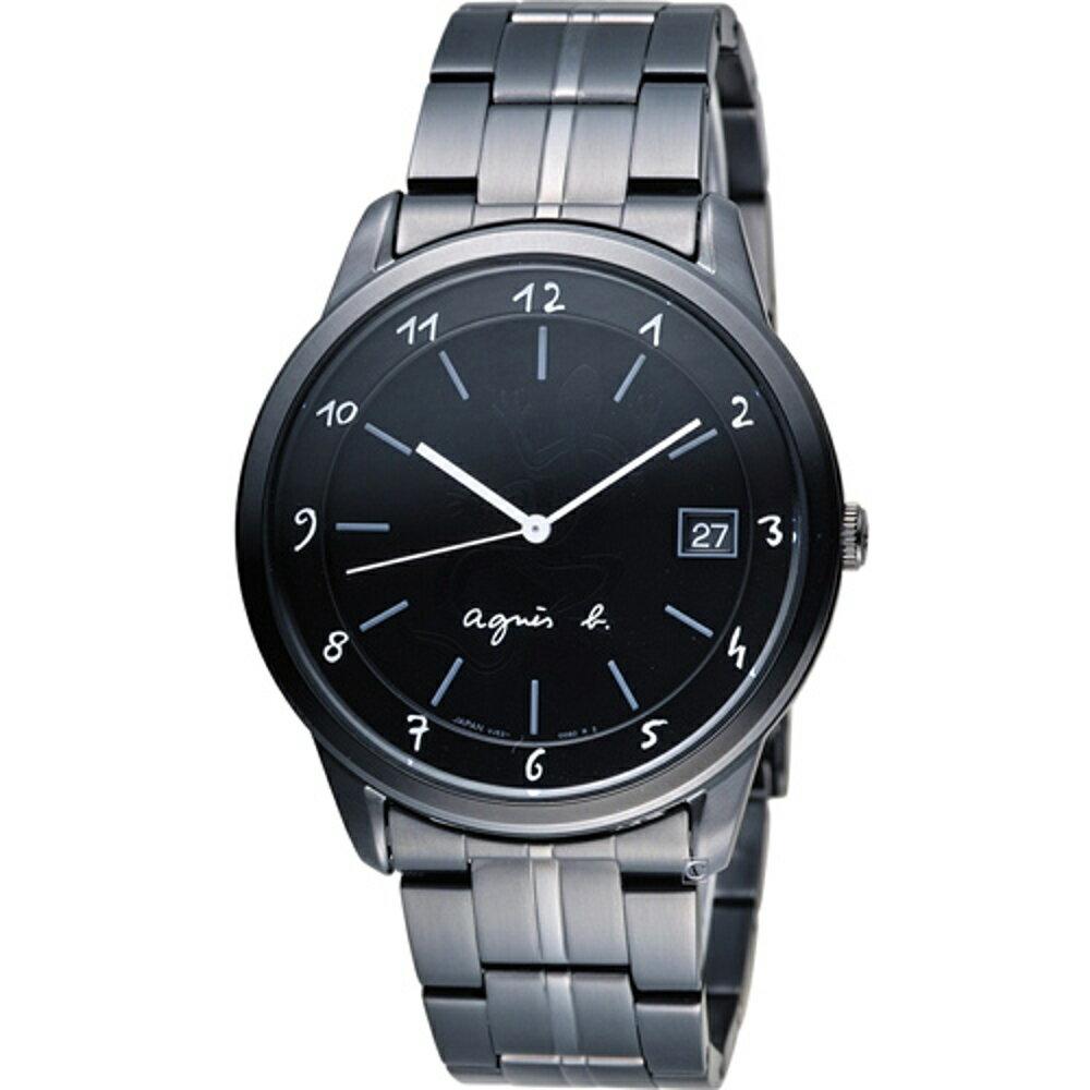 寶時鐘錶 agnes b 蜥蜴圖騰簡約時尚腕錶 BP9002J1 VJ52-00A0SD 黑