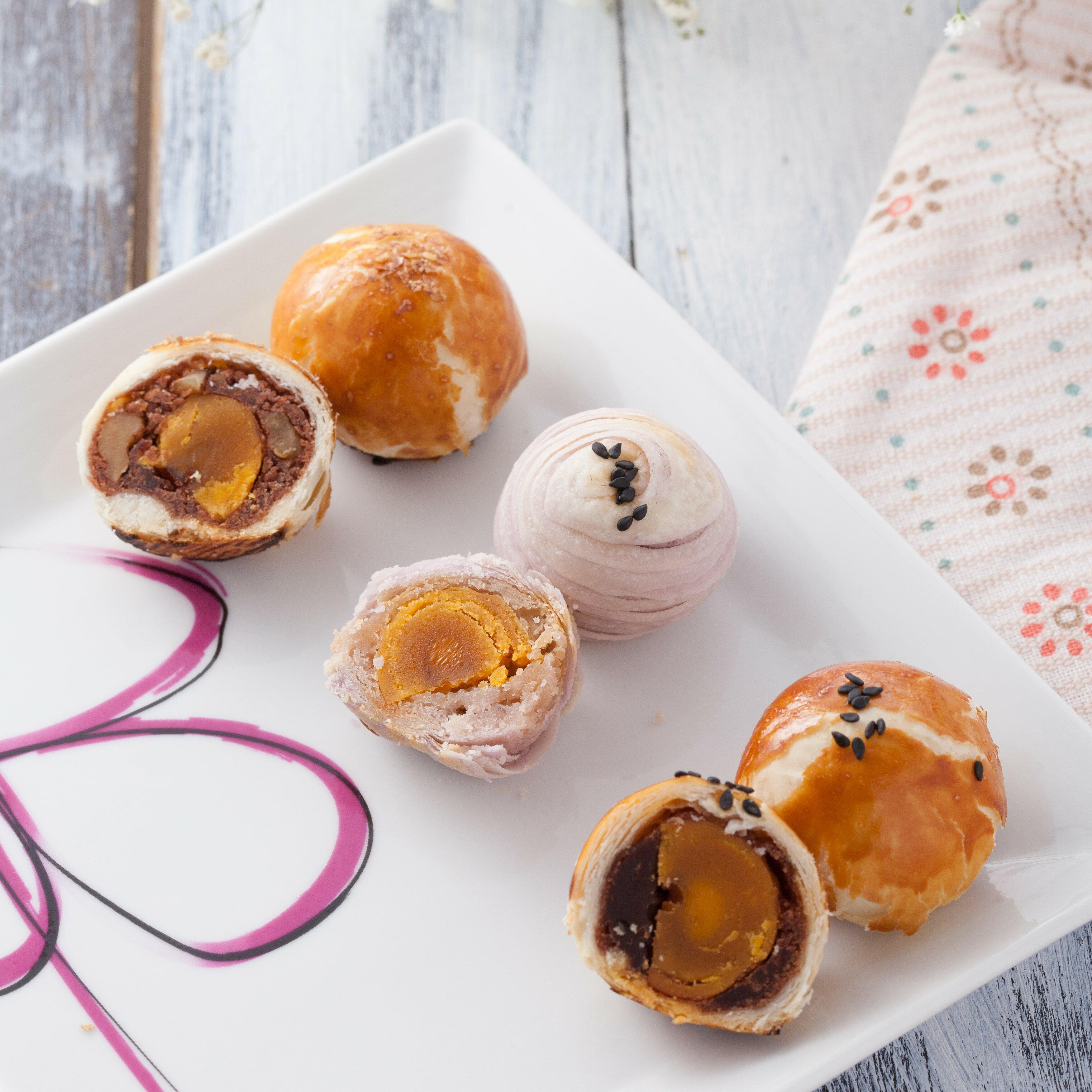 【一口酥超值組合】蛋黃酥、核桃蛋黃、芋頭酥、芋頭肉鬆、綠豆凸、綠豆肉鬆 / 12入禮盒 / 時尚送禮新選擇 3