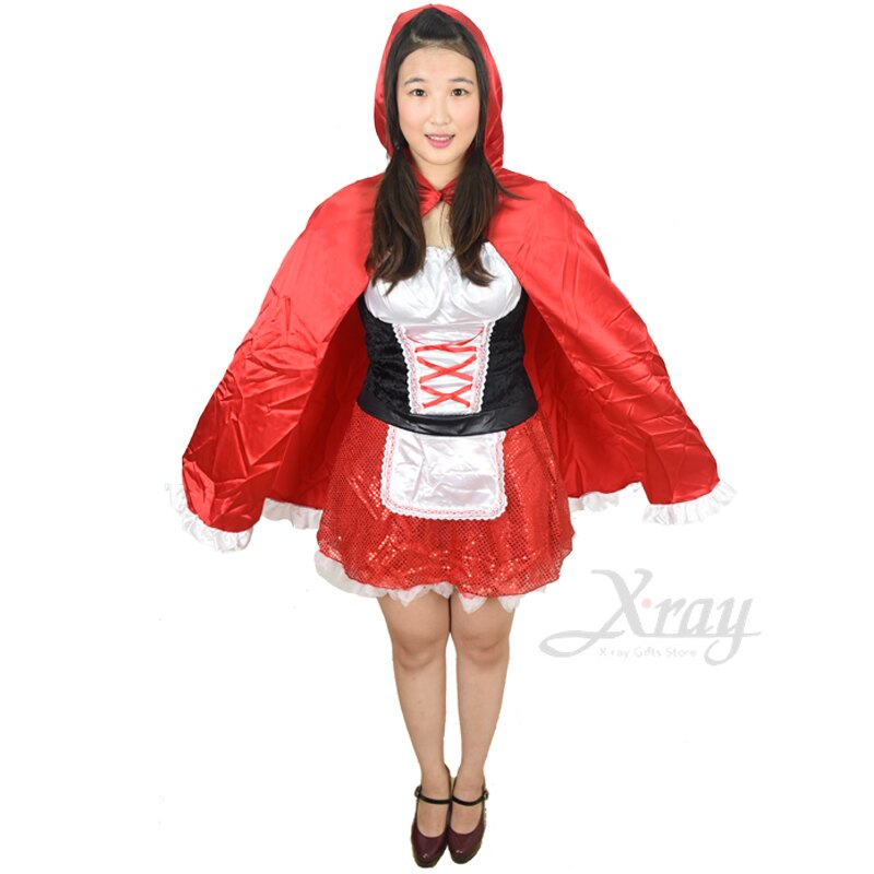 X射线【W380163】亮片裙小红帽(女人), 小红帽/大野狼/尾牙/万圣/圣诞/大人变装/cosplay/表演/摄影/写真/话剧/童话