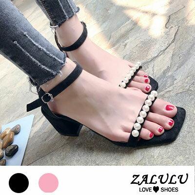 ZALULU愛鞋館 FE224 淑女款美型珍珠方頭中高跟涼鞋~黑  粉~35~39