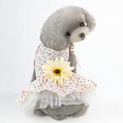 ++春夏新裝上市++立體向日葵小碎花綁帶連身洋裝-小樂寵
