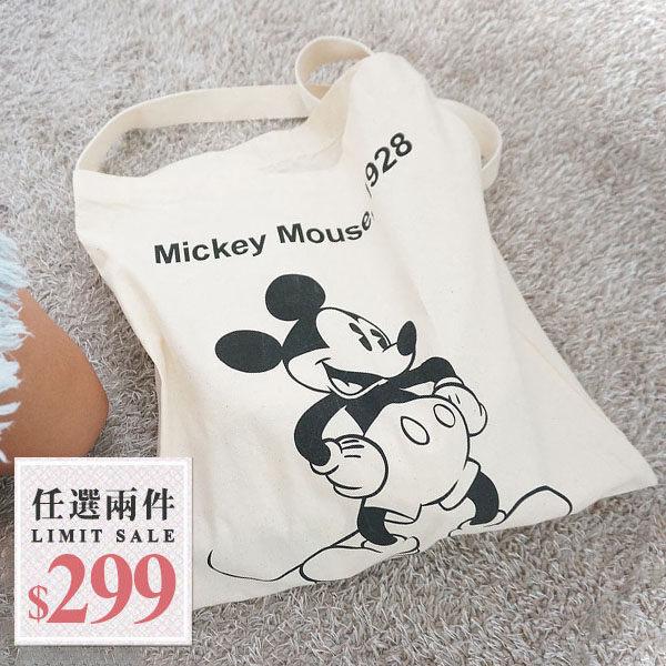 帆布兩用包-韓國小清新黑白米奇雙層帆布包/肩背包/側背包 可放A4【AN SHOP】