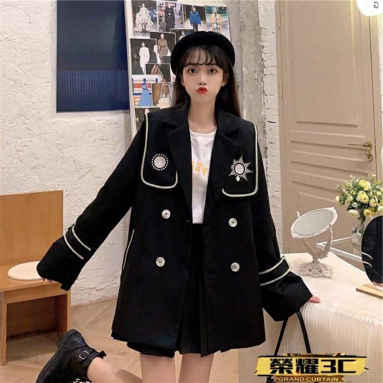 風衣外套 海軍風外套女秋冬2021新款百搭寬鬆顯瘦小個子風衣流行英倫風大衣 新款