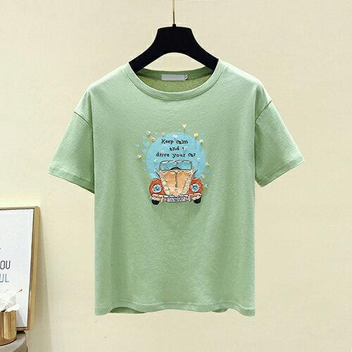 韓版印花寬鬆鑲鑽T恤(3色S~XL)【OREAD】 1