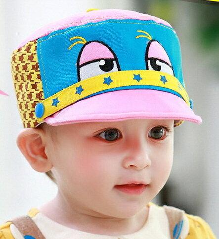 Lemonkid◆趣味俏皮卡通大眼睛星星滾邊千鳥格造型兒童帽◆粉色帽檐