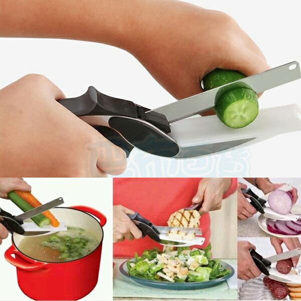 CLEVER CUTTER 不鏽鋼 攜帶型 多功能 食物 剪刀 砧板 2合1 露營 方便 安全 刀具【巴布百貨】