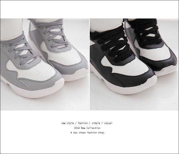 格子舖*【AF6579-1】韓版流行必敗 百搭經典配色 透氣質感真皮 4CM厚跟繫帶休閒球鞋 2色 2