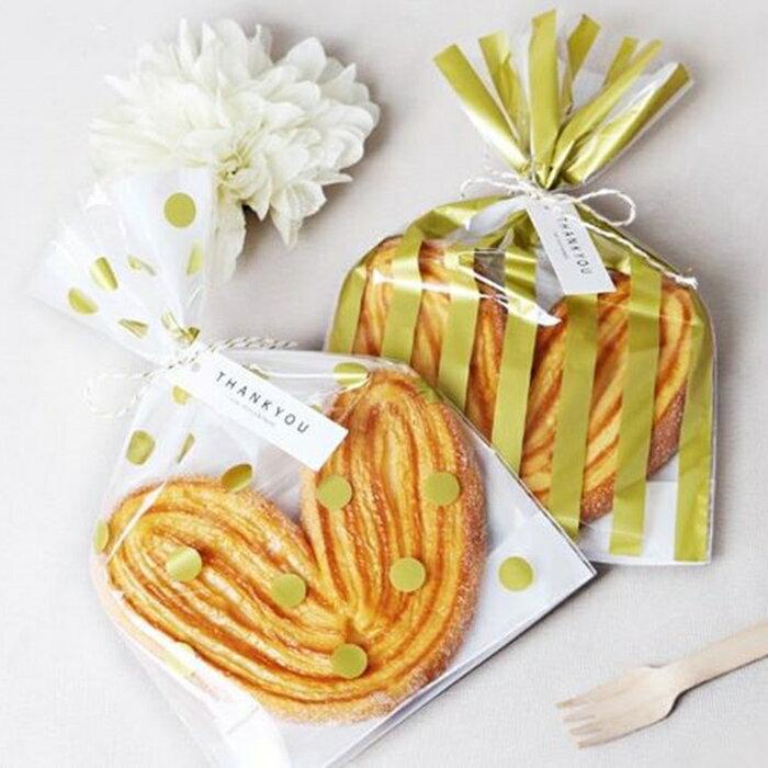 [Hare.D] 包裝袋 燙金 波點 條紋包裝袋 立式餅乾袋 糖果包裝袋 平口袋 小禮品袋 50枚