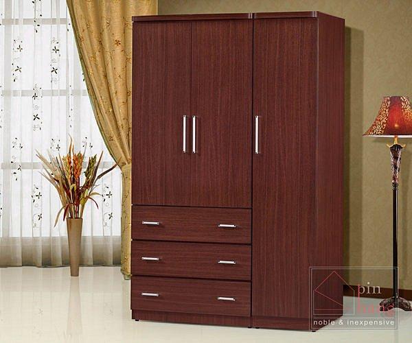 【尚品傢俱】GF-M03 詩雅 胡桃色4x7尺衣櫃~另有白色衣櫃/衣櫥/儲物櫃/房間收納櫃
