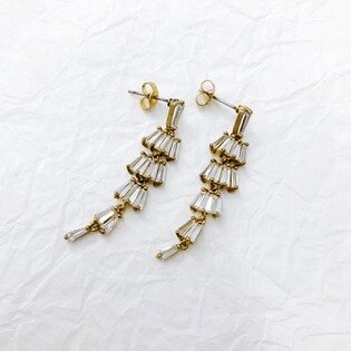 (預購+現貨)搖曳閃耀黃銅垂墜夾式耳環針式耳環(矽膠夾)【2-17162】