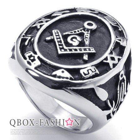 《 QBOX 》FASHION 飾品【W10021930】精緻個性圓盾符紋共濟會鑄造316L鈦鋼戒指/戒環