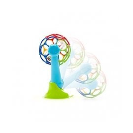 【淘氣寶寶】美國 Kids II-Oball 4吋彩色沙沙洞動球+洞動轉轉樂吸盤【可吸附在任何桌上】