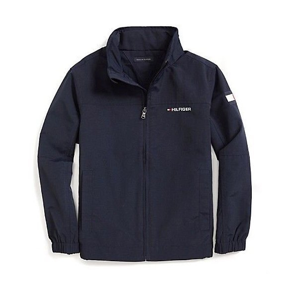 美國百分百【全新真品】Tommy Hilfiger 外套 收納帽 防潑水 TH 夾克 大衣 風衣 深藍 男 女XS號 青年版 H876