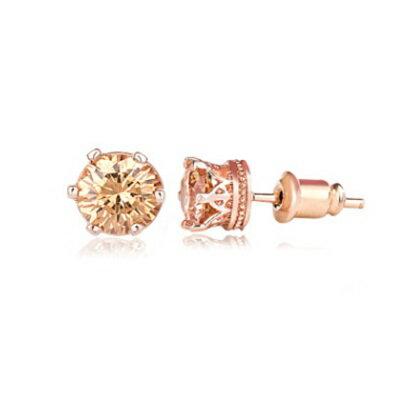 純銀耳環鍍18K金鑲鑽耳飾~精緻簡約 六爪生日情人節 女飾品3色73cr150~ ~~米蘭