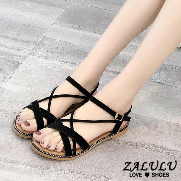 ZALULU愛鞋館7DE211預購鄰家女孩線條平底露趾涼鞋-黑米-35-40