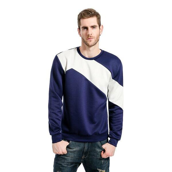 FINDSENSEZ1韓國時尚潮男胸口半邊衣袖拼色休閒外套衛衣長袖T恤