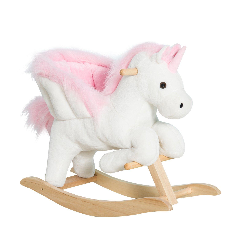 Aosom Qaba Kids Plush Toy Rocking Horse Unicorn Chair