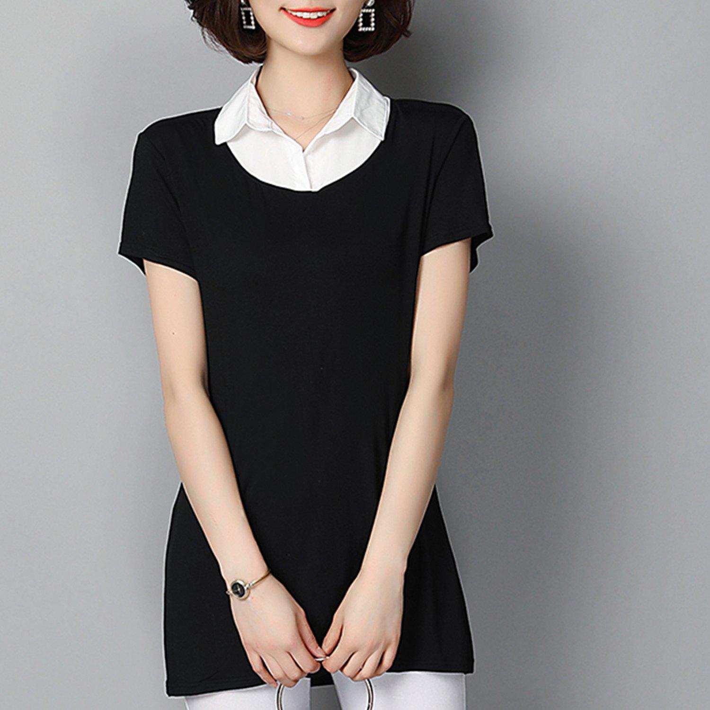棉麻上衣--氣質優雅修飾A字版型超彈力襯衫領假兩件上衣(黑.紅M-3L)-H183眼圈熊中大尺碼 1