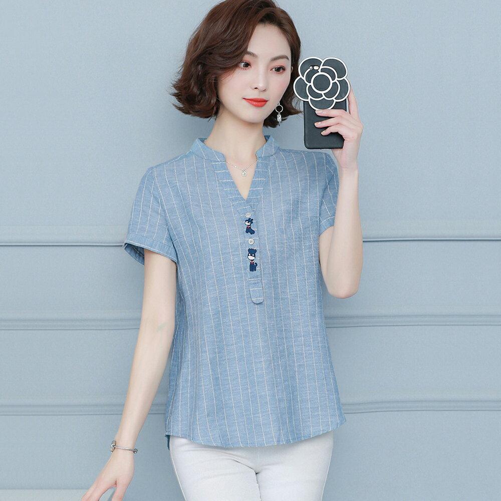 大碼寬鬆棉麻休閒短袖襯衫(2色M~4XL)【OREAD】 0