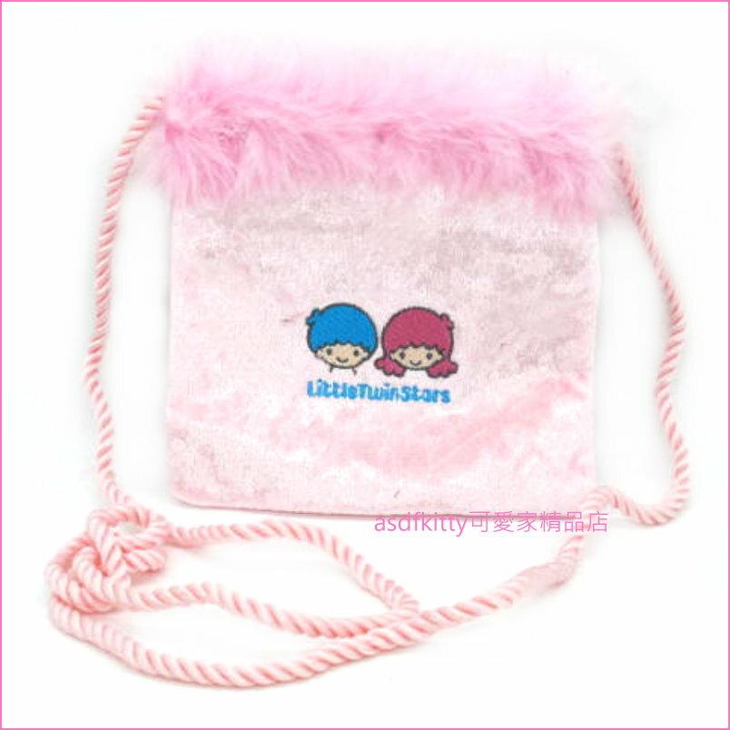 asdfkitty可愛家☆雙子星粉色羽毛斜背包/側背包/手機包-日本正版商品