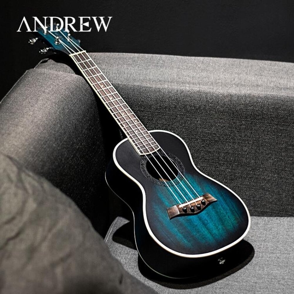 烏克麗麗 安德魯桃花心23寸藍色ukulele尤克里里小吉他學生初學烏克麗麗 曼慕衣櫃 0