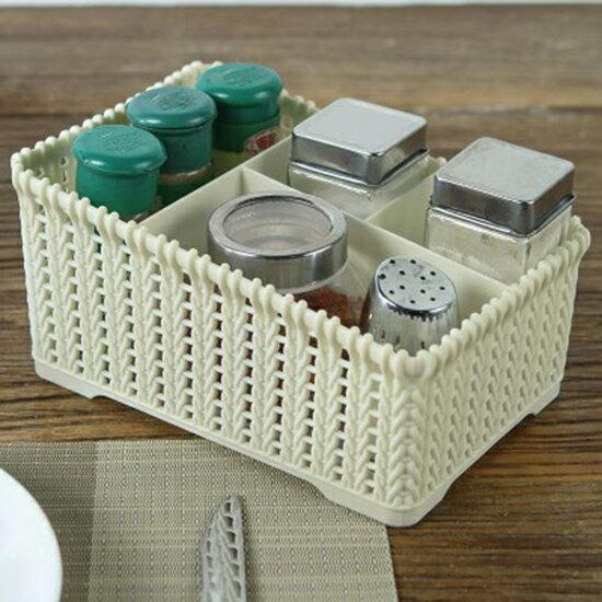 仿籐編收納盒 桌面 梳妝台 整理盒 化妝品 雜物 文具收納盒 多格置物架 ♚MY COLOR♚【L043-1】