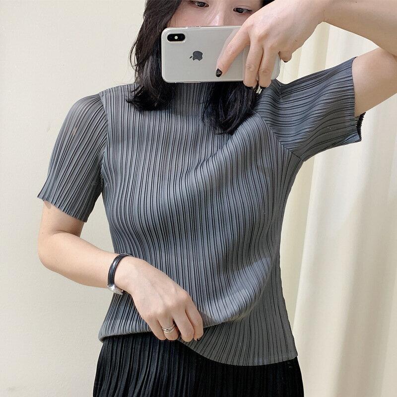 短袖T恤褶皺上衣-高領修身簡約高彈力女裝2色73zs25【獨家進口】【米蘭精品】