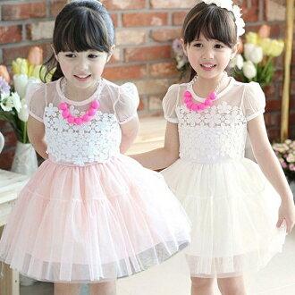 【貝貝樂SHOW】夏季甜心公主繽紛向陽蕾絲花雪紡袖洋裝紗裙~贈精美水晶項鏈~粉色.白色