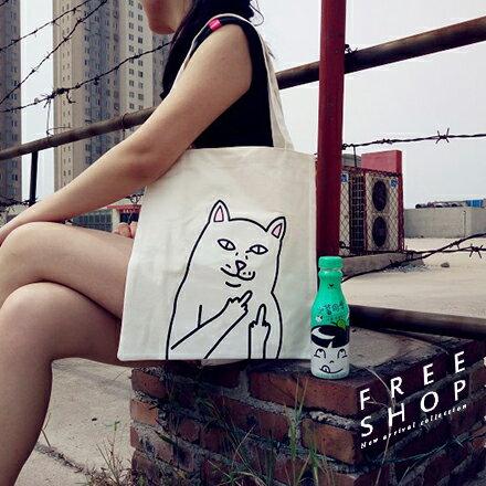 Free Shop 歐美超夯潮流邪惡賤貓 中指貓 鄙視貓 單肩背包環保袋購物袋帆布背包手提包【QPPIS8116】