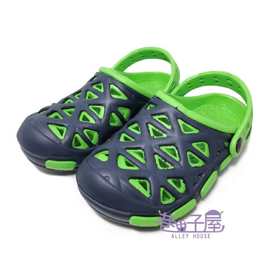 【巷子屋】童款輕量防水布希鞋 涼拖鞋 [2169] 綠 超值價$100