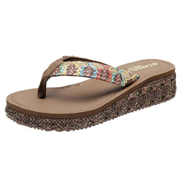 夾腳拖鞋 人字拖鞋女外穿夏季時尚百搭厚底厚底楔形海邊夾腳防滑沙灘鞋【顧家家】