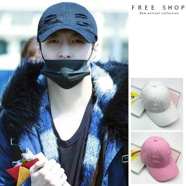 FreeShop扣環割破造型鴨舌帽長帶設計黑色白色粉紅色男女情侶款復古破洞棒球帽老帽【QCCGJ1175】