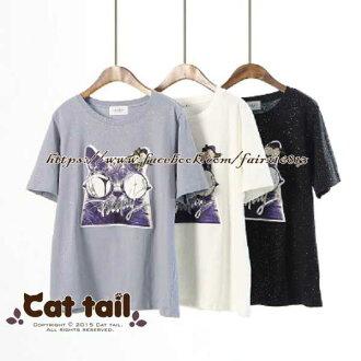 《貓尾巴》LZ-02025 韓系墨鏡貓印花字母短袖T恤(森林系 日系 棉麻 文青 清新)
