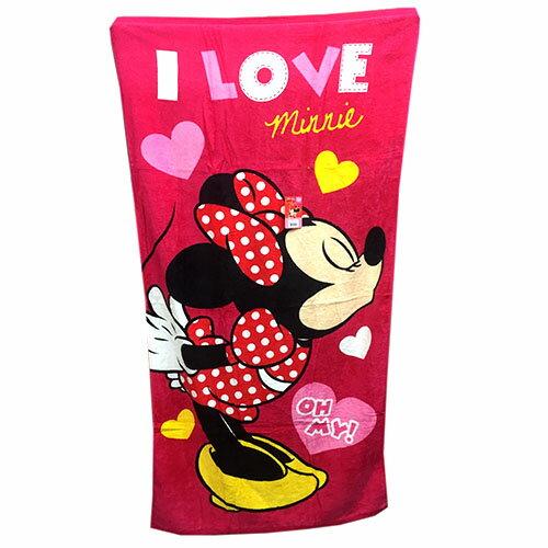 【真愛日本】17060500006 加大純棉浴巾-我愛米妮桃 迪士尼 米老鼠 mickey 米奇 浴巾 盥洗用品